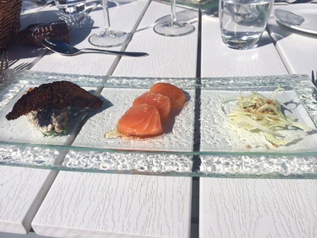ravintola saari, kesä, kesäruokaa, lounas, sienisalaatti, kylmäsavustettu lohi, fenkoli