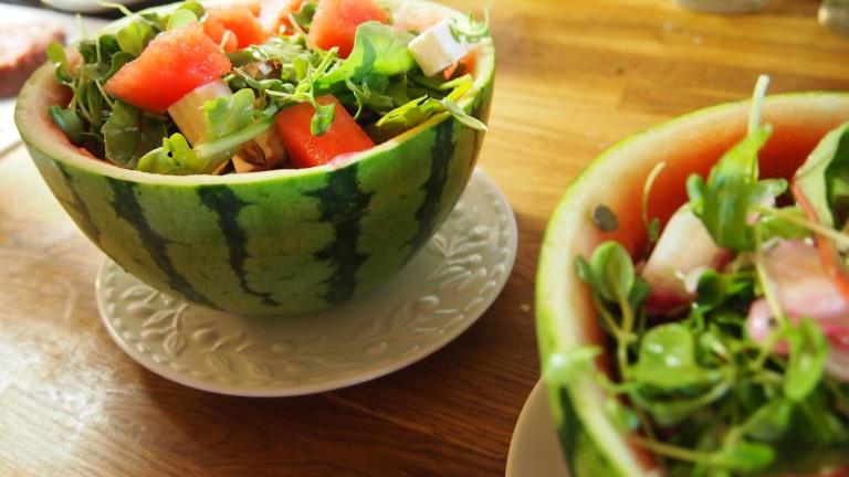 vesimeloni, vesimelonisalaatti, vesimeloni-fetasalaatti